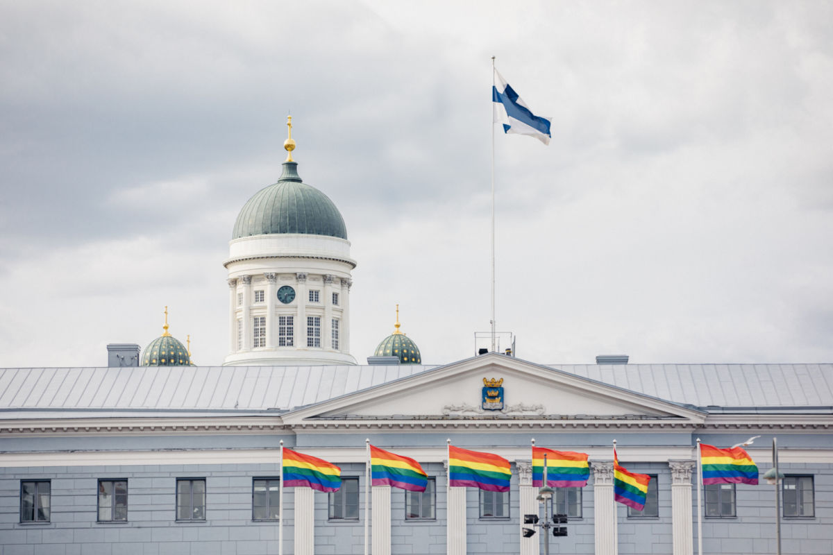 Helsinki Pride march takes place in the middle of the summer at Helsingin tuomiokirkko