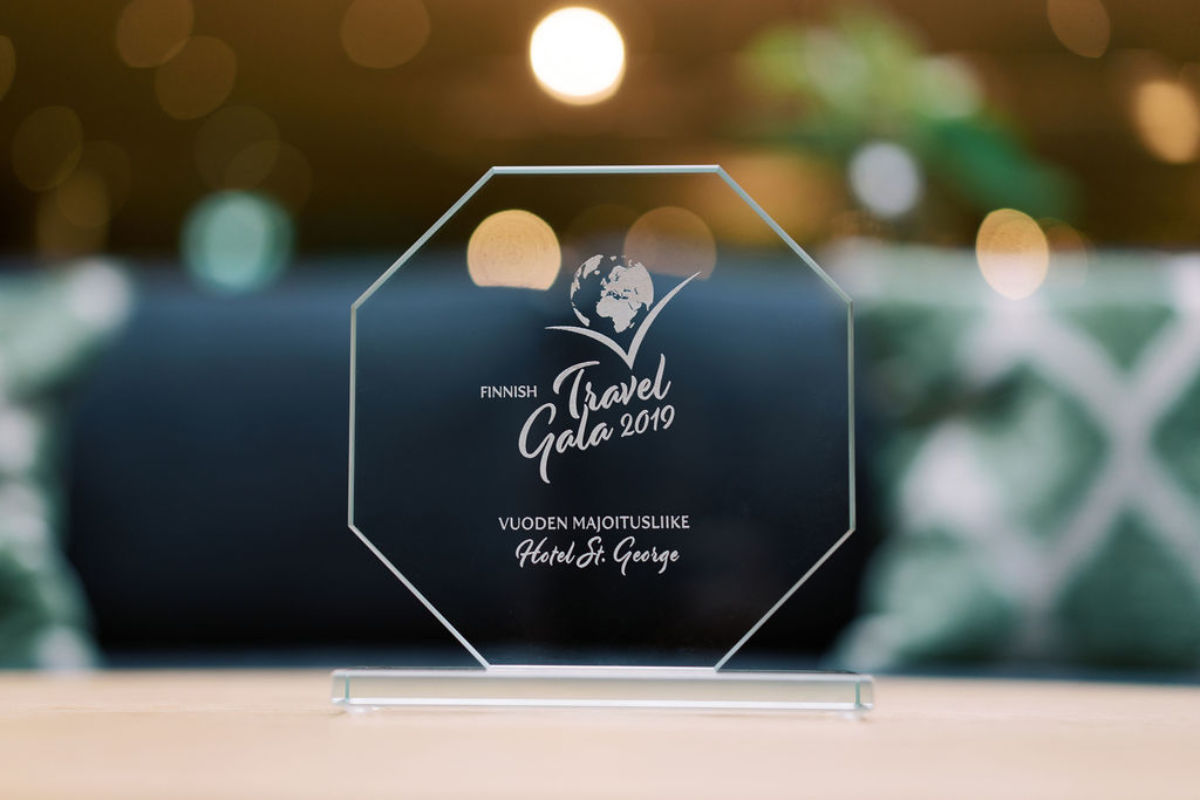Finnish Travel Gala, which celebrates the year's best travel industry achievements and phenomena, is organised by the Association of Finnish Travel Agents (SMAL / AFTA).  St. George, which opened only last year in central Helsinki, won the Hotel of the Year award.